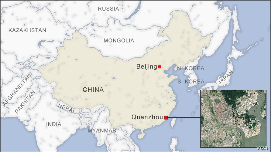 Map of Quanzhou China