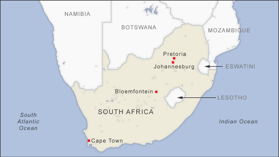 Map of South Africa showing the cities of Pretoria, Johannesburg, Bloemfontein and Cape Town