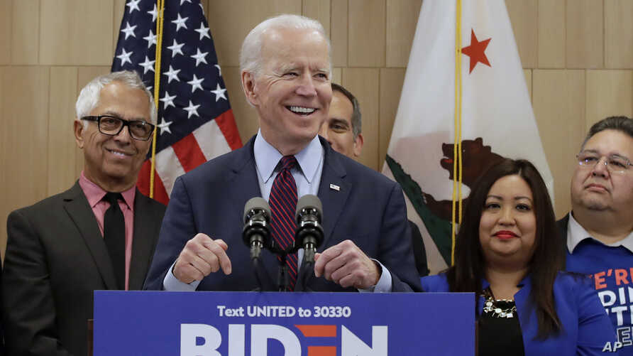 Democratic presidential candidate and former vice president Joe Biden speaks at an event in Los Angeles, California, March 4, 2020.