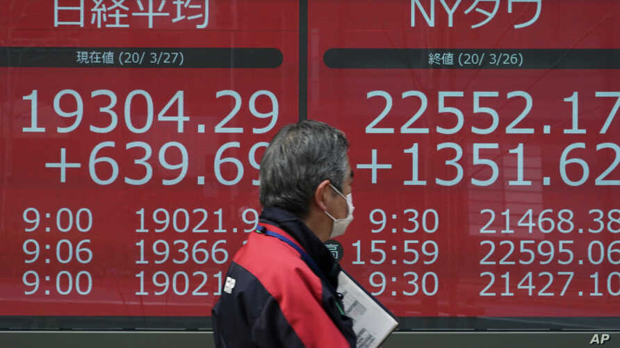 A man walks past an electronic stock board showing Japan's Nikkei 225 and New York Dow Jones index, at a securities firm in Tokyo, Japan, March 27, 2020.