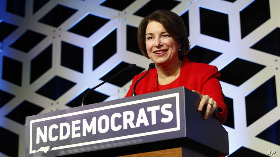 Democratic presidential candidate Sen. Amy Klobuchar, D-Minn., speaks at the North Carolina Democratic Party's Blue NC Celebration, Feb. 29, 2020, in Charlotte, N.C.