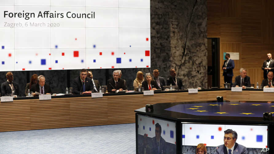 Croatia's Prime Minister Andrej Plenkovic speaks during a EU foreign affairs council meeting in Zagreb, Croatia, March 6, 2020.