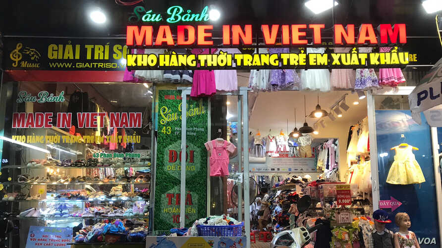 """FILE - A shop in Vietnam sells """"Made in Vietnam"""" goods."""