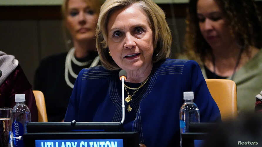 Former U.S. presidential candidate and secretary of state Hillary Clinton speaks at United Nations Headquarters on a panel about including women in the peace process in Afghanistan, in New York City, March 10, 2020.