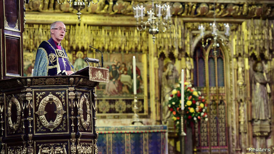 Archbishop of Canterbury Justin Welby gives and address during an Armistice Service at Westminster Abbey in Westminster, London, Nov. 11, 2018.