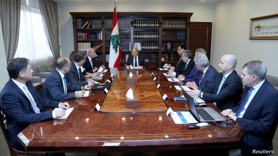 Lebanon's President Michel Aoun heads a financial meeting with Prime Minister Hassan Diab, Parliament Speaker Nabih Berri and Lebanon's Central Bank Governor Riad Salameh at the presidential palace in Baabda, March 7, 2020.