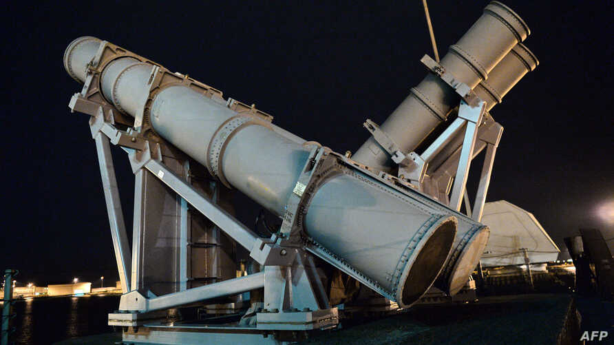 Harpoon missile launchers are seen on the US Navy USS Coronado which docked at Changi Naval Base in Singapore on…
