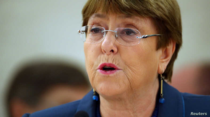 United Nations High Commissioner for Human Rights Michelle Bachelet attends a session of the Human Rights Council at the United Nations in Geneva, Switzerland, February 27, 2020.