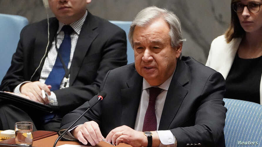 Secretary General of the United Nations Antonio Guterres speaks during a Security Council meeting about the situation in Syria…