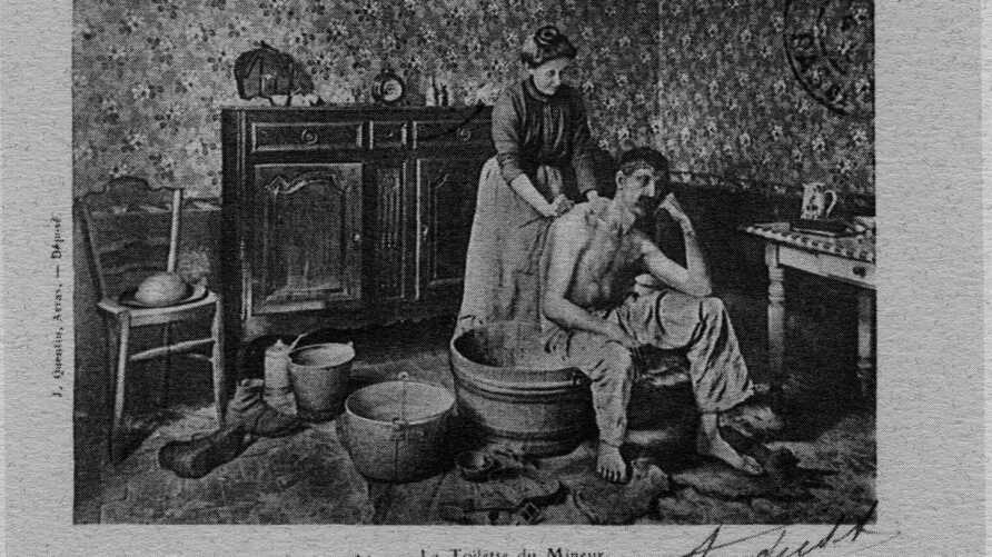 A postcard of a French miner being washed by his wife at the turn of the 20th century. (The Clean Body - A Modern History by Peter Ward)