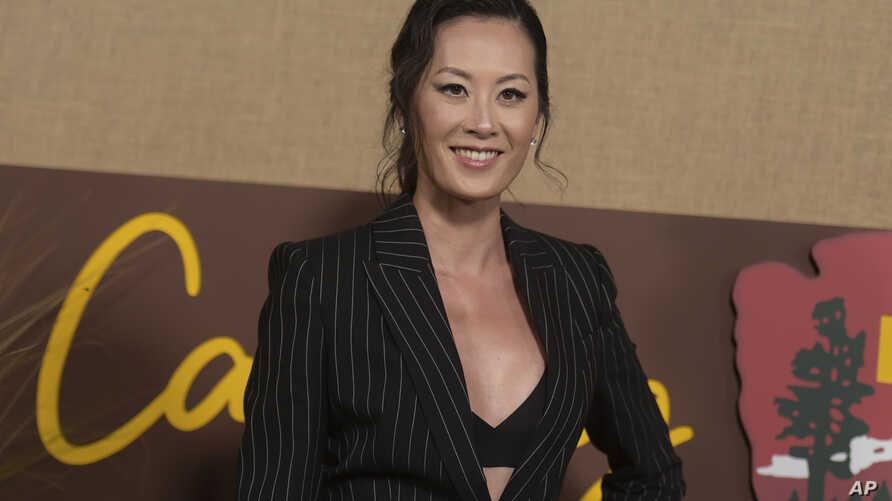 """Olivia Cheng arrives at the Los Angeles premiere of """"Camping"""" on Wednesday, Oct. 10, 2018, at Paramount Studios. (Photo by…"""