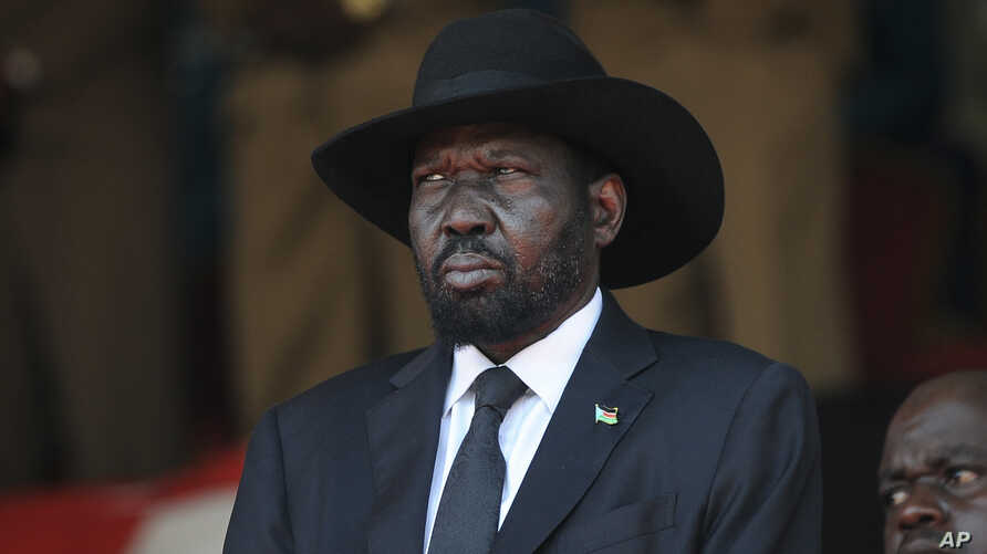 FILE - South Sudan's President Salva Kiir attends the state funeral of Kenya's former president Daniel arap Moi, at Nyayo Stadium in the capital Nairobi, Kenya, Tuesday, Feb. 11, 2020.