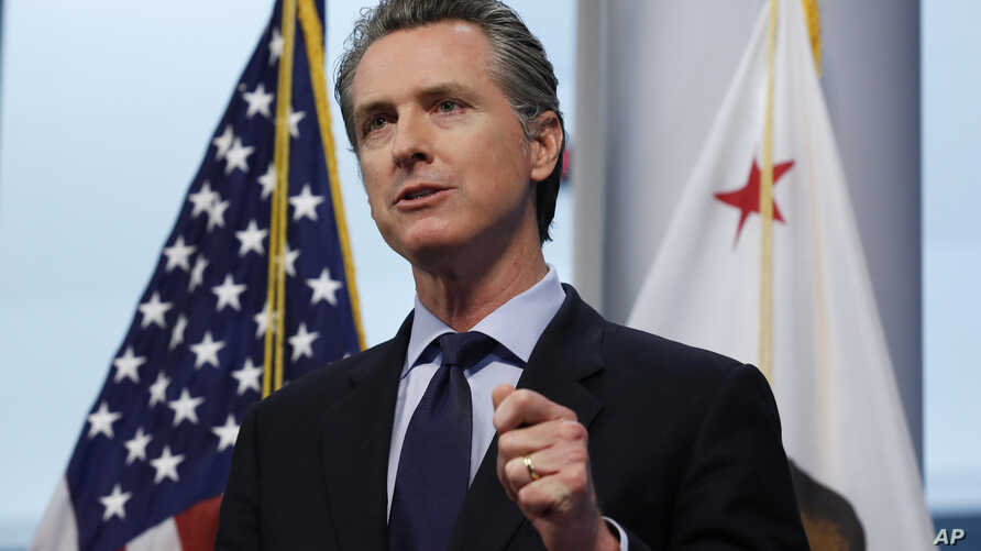 In this photo taken Thursday, April 9, 2020, Gov. Gavin Newsom gives his coronavirus update at the the Governor's Office of…