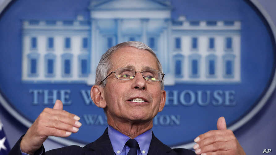 Dr. Anthony Fauci, director of the National Institute of Allergy and Infectious Diseases, speaks about the coronavirus in the James Brady Press Briefing Room of the White House, April 17, 2020, in Washington.