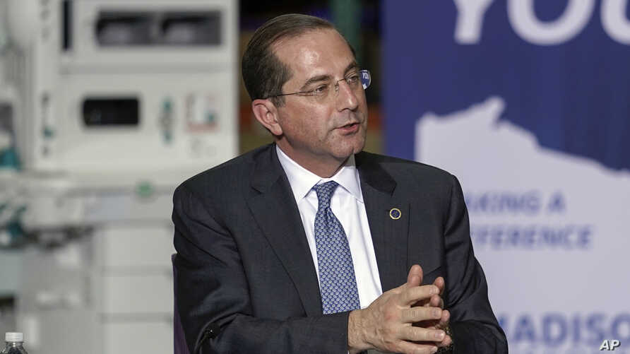 Health and Human Services Secretary Alex Azar speaks during a visit to the GE Healthcare manufacturing facility Tuesday April…