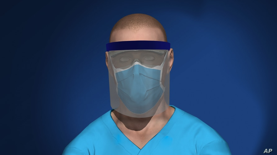 3D model of health care worker wearing face shield and mask
