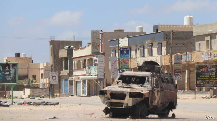 A residential neighborhood in Tripoli's suburbs after a battle, April 28, 2019. (Heather Murdock/VOA)