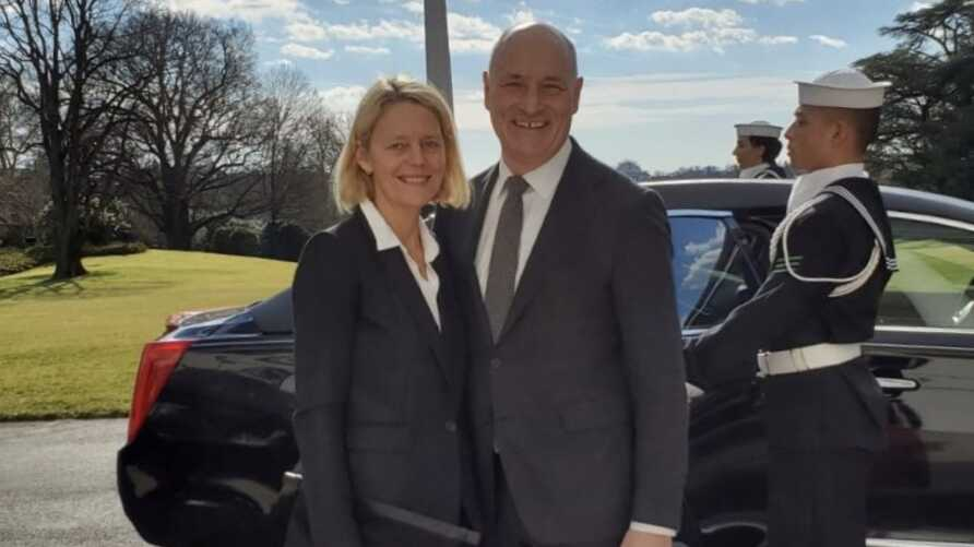 Austrian Ambassador to the U.S. Martin Weiss and his wife, Susi Weiss, arrive at the White House on January 6, 2020 for an Oval