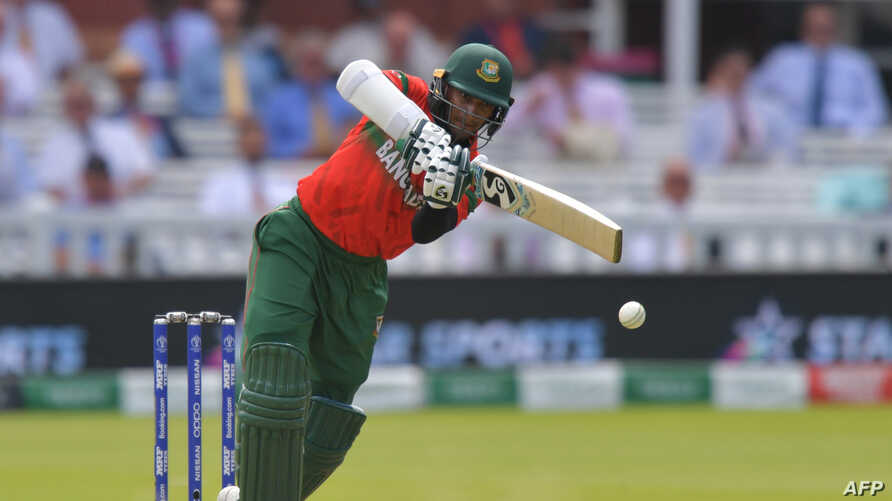 FILE - Bangladesh's Shakib Al Hasan plays a shot during the 2019 Cricket World Cup group stage match between Pakistan and Bangladesh at Lord's Cricket Ground in London, Britain, July 5, 2019.