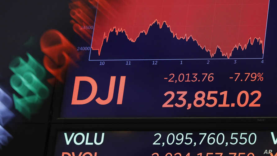 FILE - A screen above the floor of the New York Stock Exchange shows the closing number for the Dow Jones, March 9, 2020. It closed at 23,775.27 April 24, 2020.