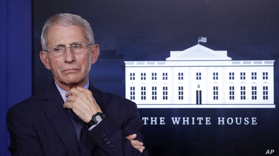 FILE - Anthony Fauci, director of the National Institute of Allergy and Infectious Diseases, is seen at the White House, in Washington, April 1, 2020. The National Bobblehead Hall of Fame and Museum is creating a bobblehead of Fauci.