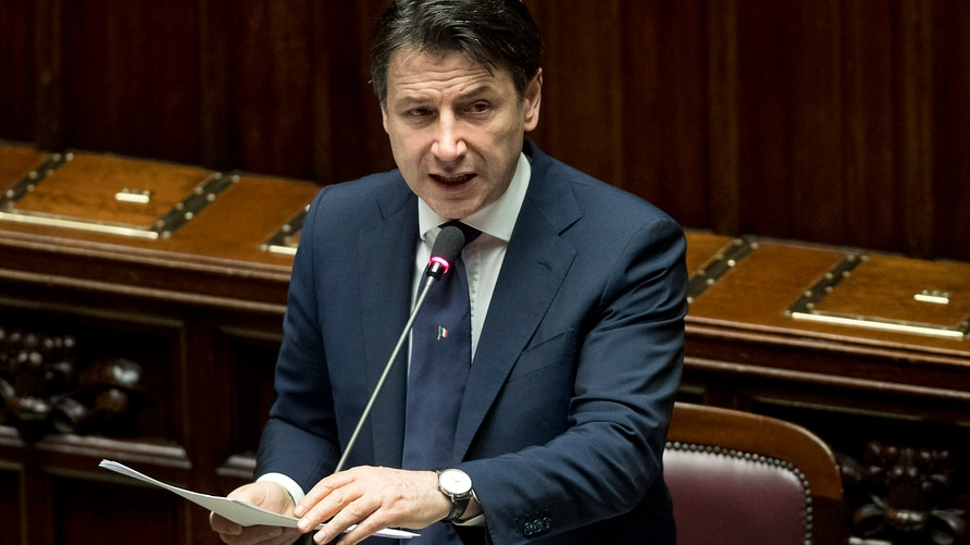 Italian Premier Giuseppe Conte delivers his message to the Lower House of Chambers of the Italian Parliament, in Rome, April 21, 2020.