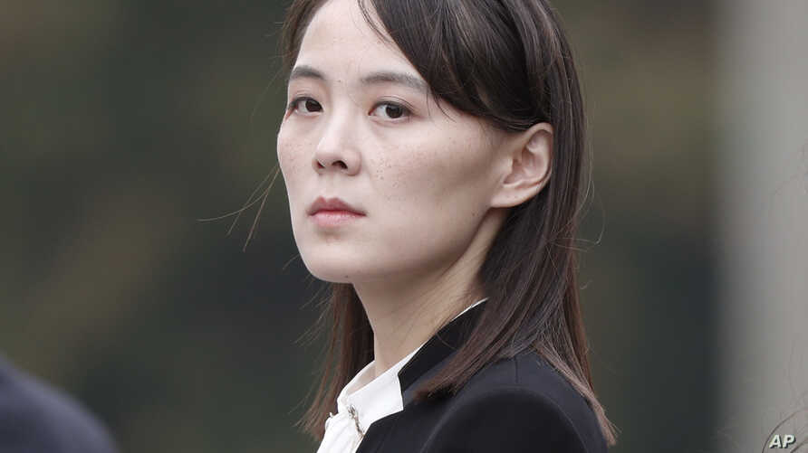 FILE - Kim Yo Jong, sister of North Korea's leader Kim Jong Un attends a ceremony at Ho Chi Minh Mausoleum in Hanoi, Vietnam, March 2, 2019. Analysts see her as a possible successor to her brother if he were to become incapacitated or die.