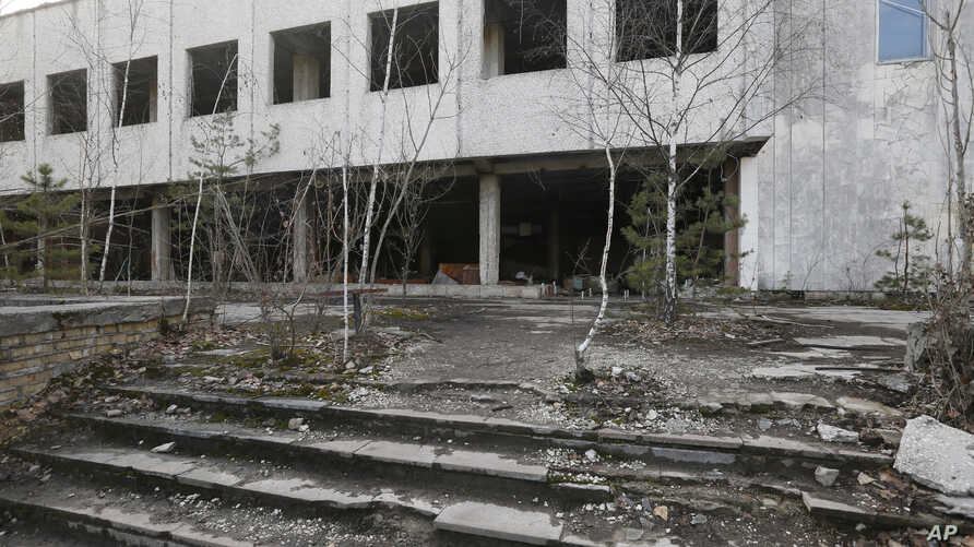 Houses in the deserted town of Pripyat, some 3 kilometers (1.86 miles) from the Chernobyl nuclear power plant in Ukraine, Feb. 4, 2020.