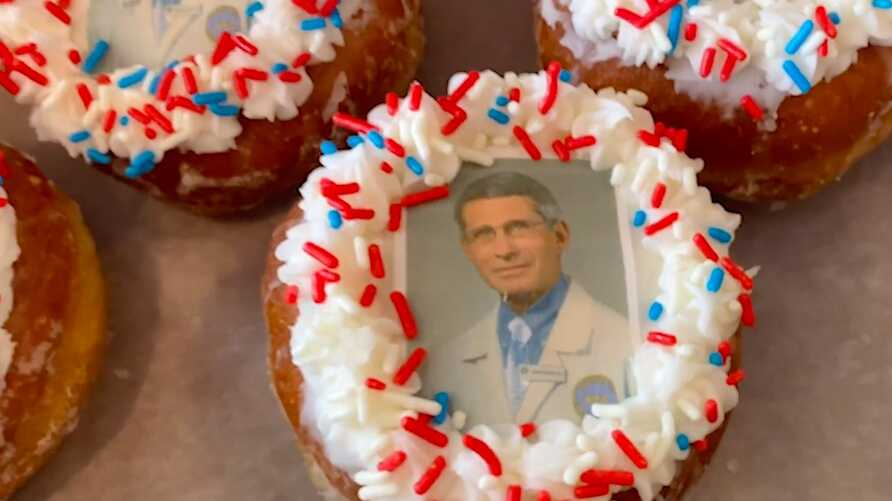A Dr. Anthony Fauci doughnut now being sold at Donuts Delight in Rochester, New York.