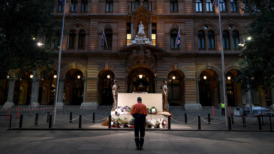 The Cenotaph is seen on Anzac Day at an empty Martin Place amid the coronavirus pandemic, in Sydney, Australia, April 25, 2020.