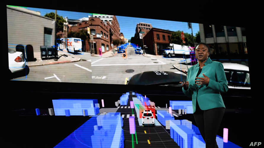 Aicha Evans who is the CEO of the self-driving technology development company Zoox, talks about autonomous cars during a…