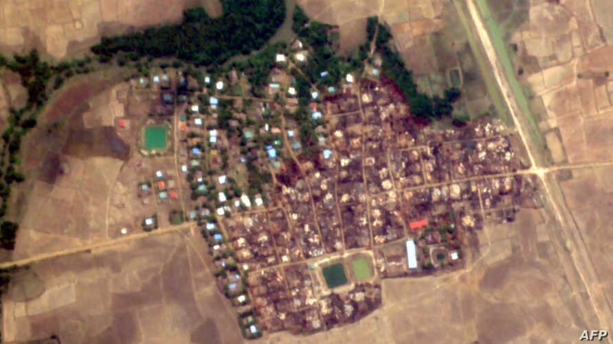 This handout satellite image from Planet Labs taken on May 23, 2020 and released by Human Rights Watch (HRW) on May 26 shows…