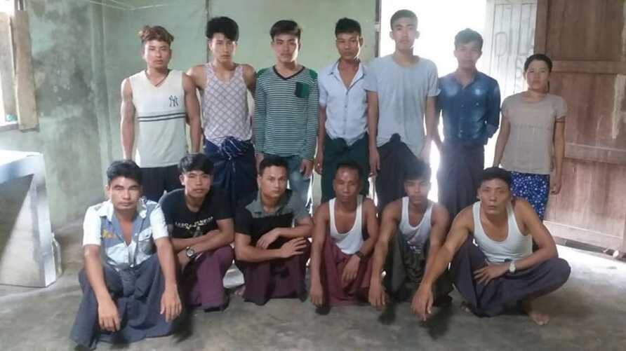 Myanmar nationals who were rescued by Thai military in Sungai Kolok, a town in Narathiwat province, near the border with Malaysia on May 13, 2020, after the group had been abandoned by a labor agent taking them to Malaysia. (Courtesy photo)