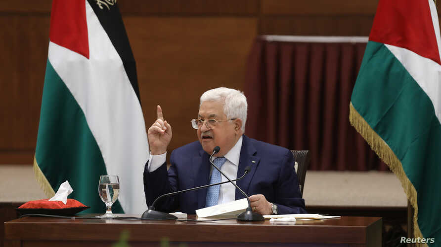 Palestinian President Mahmoud Abbas speaks during a leadership meeting in Ramallah, in the Israeli-occupied West Bank May 19,…
