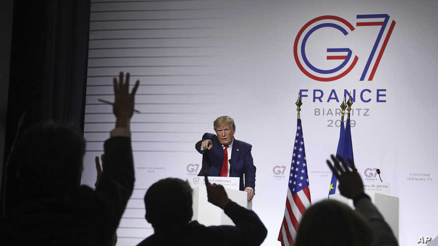 President Donald Trump takes questions during a press conference on the third and final day of the G-7 summit in Biarritz,…