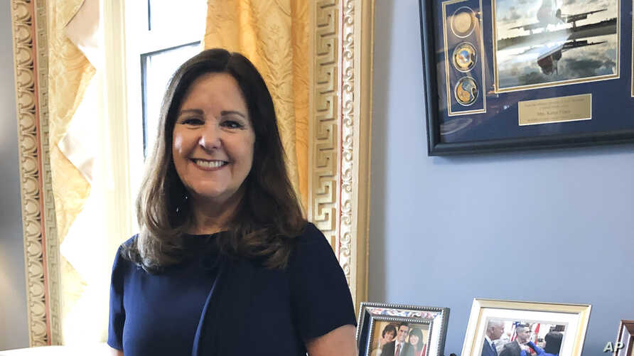 Karen Pence, wife of Vice President Mike Pence, poses for a photograph in her office in the Eisenhower Executive Office…