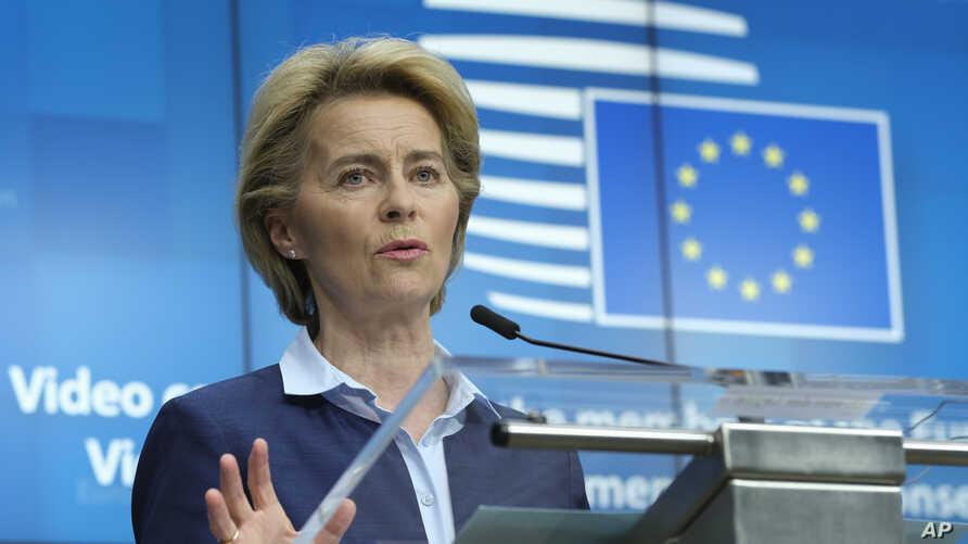 European Commission President Ursula von der Leyen speaks during a news conference after a video conference with EU leaders at the European Council building in Brussels, April 23, 2020.