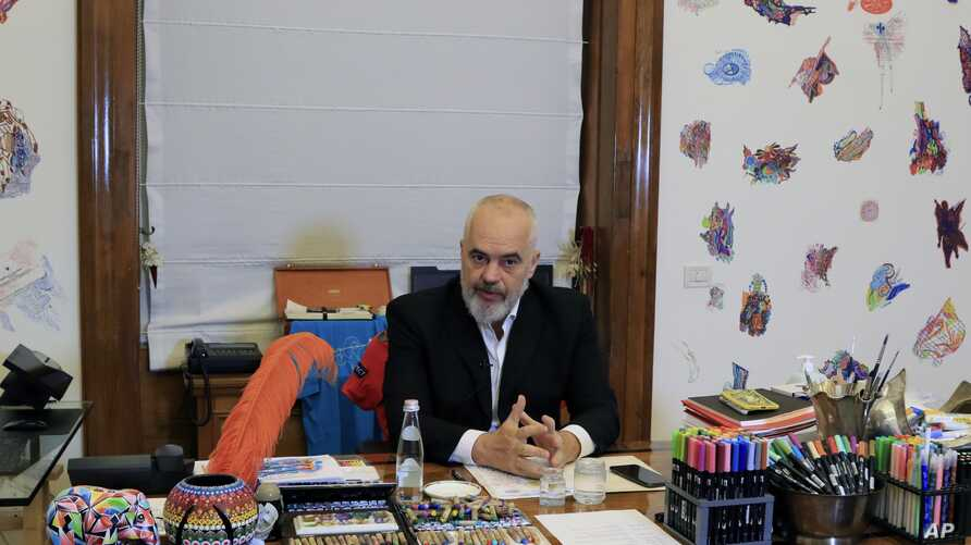 Albania's Prime Minister Edi Rama speaks during an interview with the Associated Press in Tirana, Wednesday, May 6, 2020…