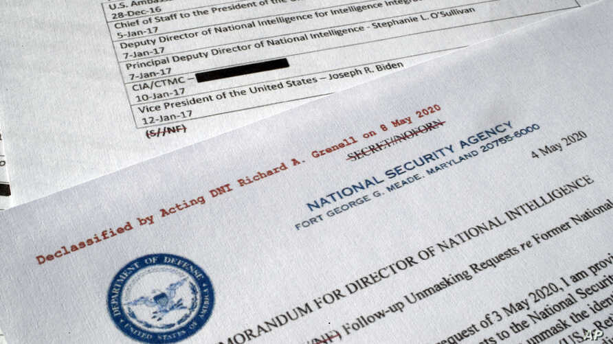 A declassified document with names of President Barack Obama administration officials who made requests for unmasking of…