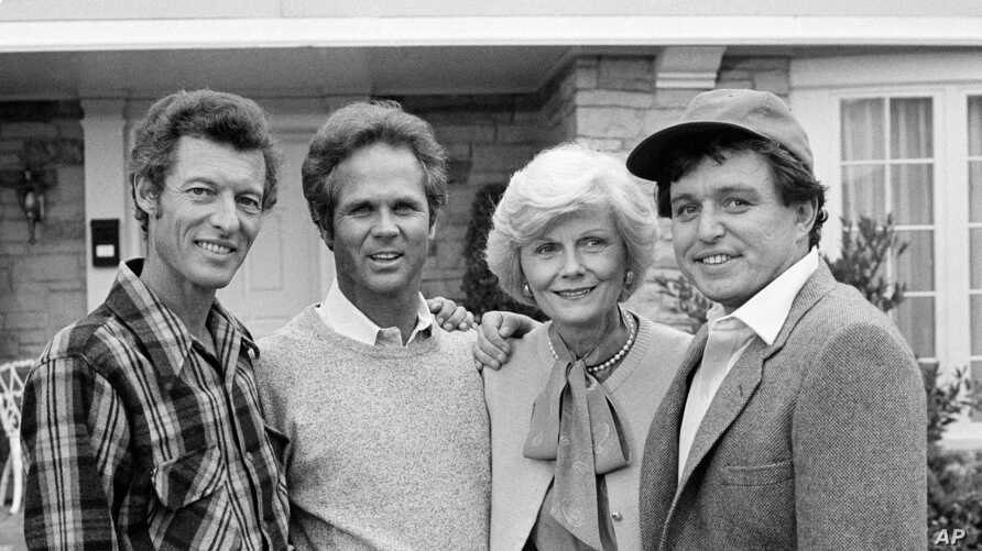 """FILE - This Dec. 10, 1982 file photo shows members of the original cast of the """"Leave It To Beaver,"""" from left,  Ken Osmond,…"""