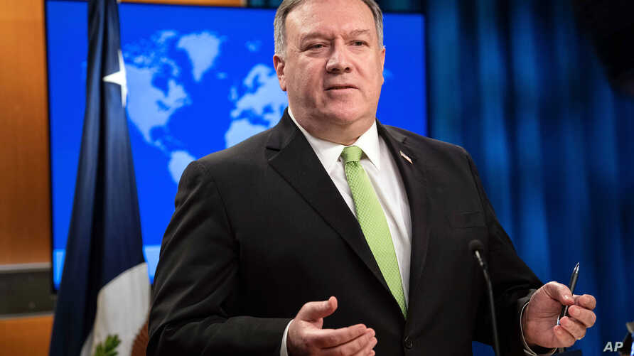Secretary of State Mike Pompeo speaks during a press briefing at the State Department on May 20, 2020, in Washington.