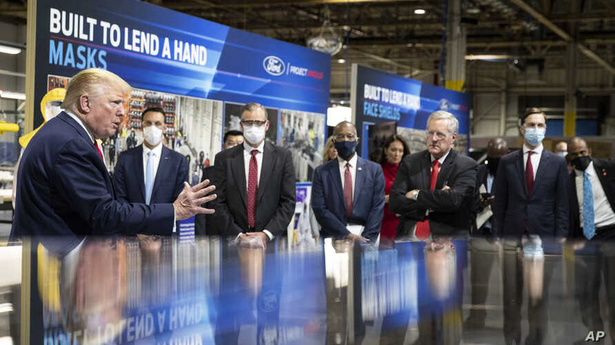 President Donald Trump speaks as he tours Ford's Rawsonville Components Plant in Michigan