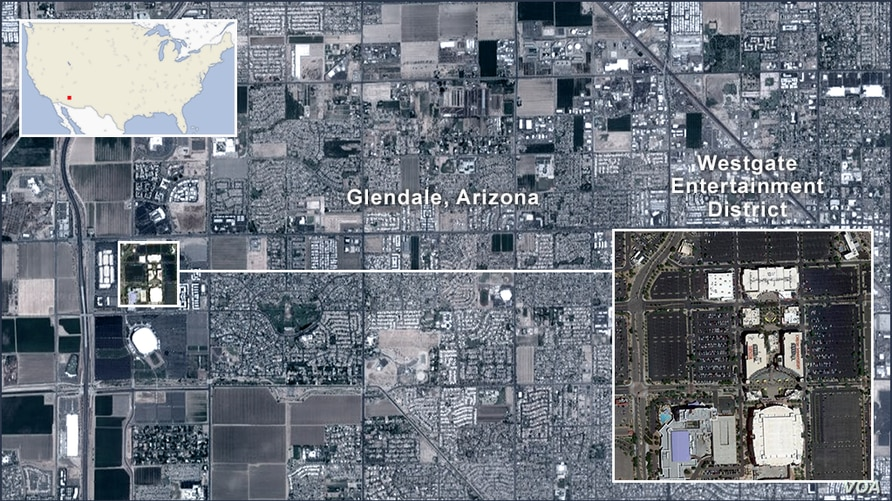 Map of Glendale, Arizona, with an inset of the Westgate Entertainment District