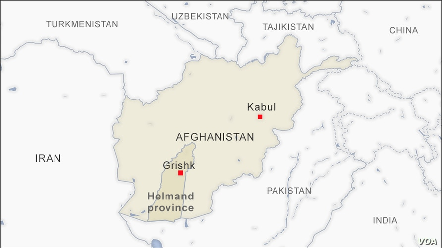 Map of Grishk, Helmand province, Afghanistan