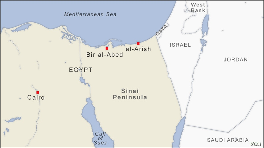 Map of Sinai Peninsula, showing the towns of Bir al-Abed and el-Arish