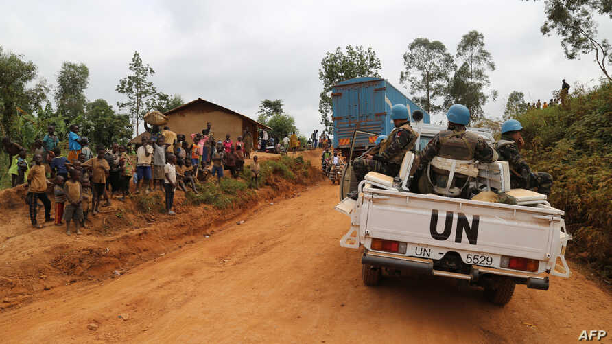 Moroccan soldiers from the U.N. mission in DRC (Monusco) patrol in the violence-torn Djugu territory, Ituri province, eastern DRCongo, March 13, 2020.
