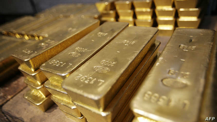 FILE - Gold bars are pictured at a plant of gold refiner and bar manufacturer Argor-Heraeus SA in Mendrisio, southern Switzerland, April 6, 2009.