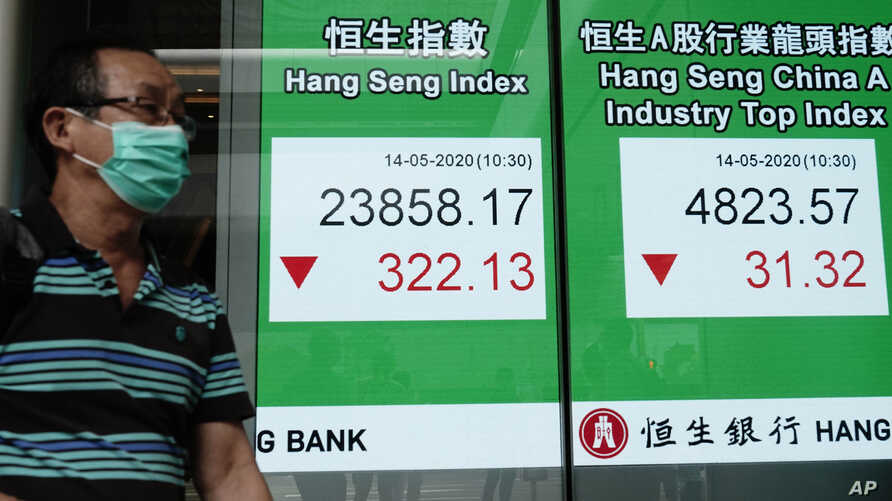 A man wearing face mask walks past a bank electronic board showing the Hong Kong share index at Hong Kong Stock Exchange, May 14, 2020.