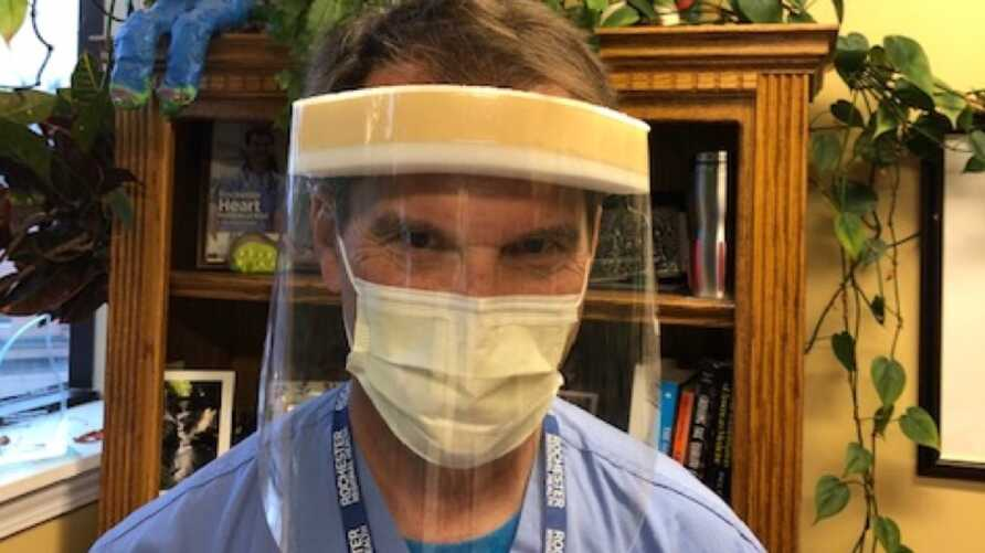 Dr. Gerry Gacioch wears a face shield at Rochester General Hospital, April 13, 2020. (Photo courtesy of Dinh Tran Tuan)