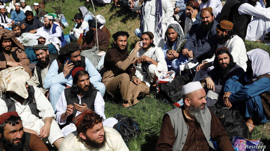 Newly freed Taliban prisoners are seen gathered at Pul-i-Charkhi prison, in Kabul, Afghanistan, May 26, 2020.